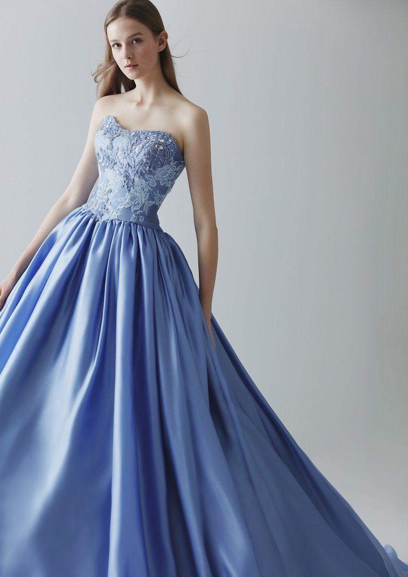 冬 結婚式 カラードレス ブルー