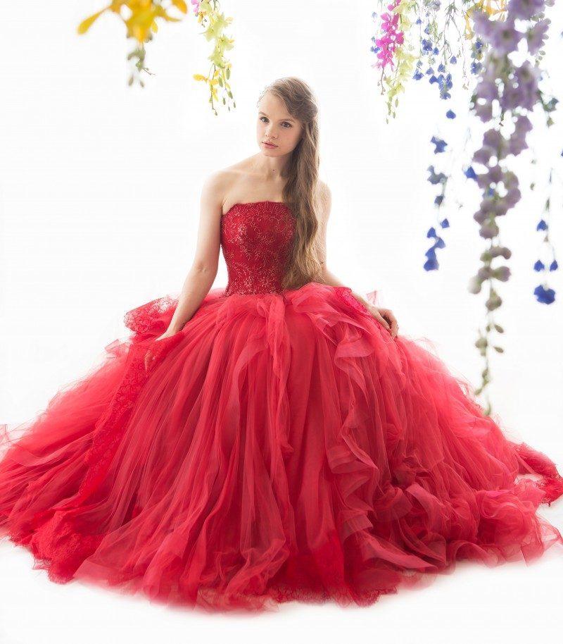 冬 結婚式 カラードレス レッド
