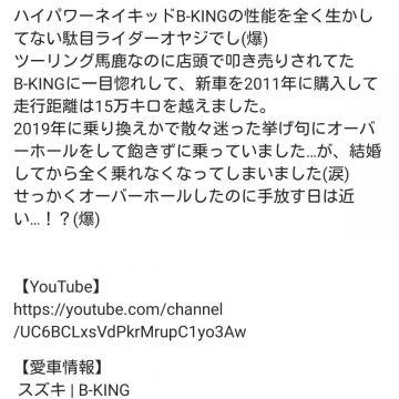 霧雨かむらさんが投稿した愛車情報(B-KING)