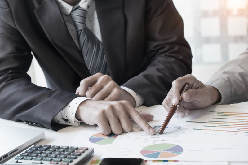 Business adviser analyzing financial figures denoting the progress in the work,consult concept.