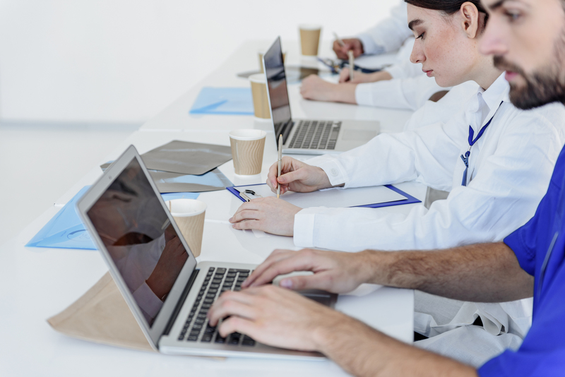 Clever future doctors using modern gadgets