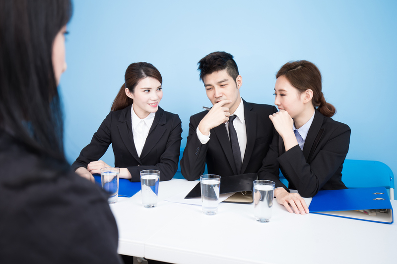 businesspeople with interview