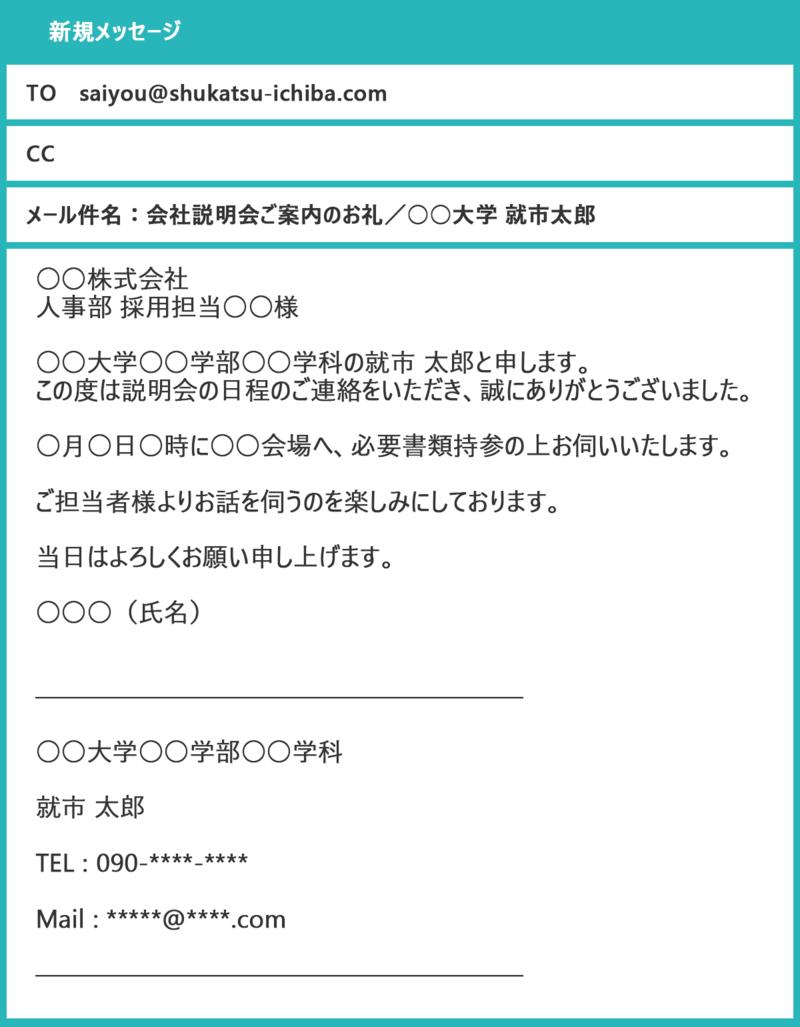 会社説明会ご案内のお礼○○大学○○○(氏名)