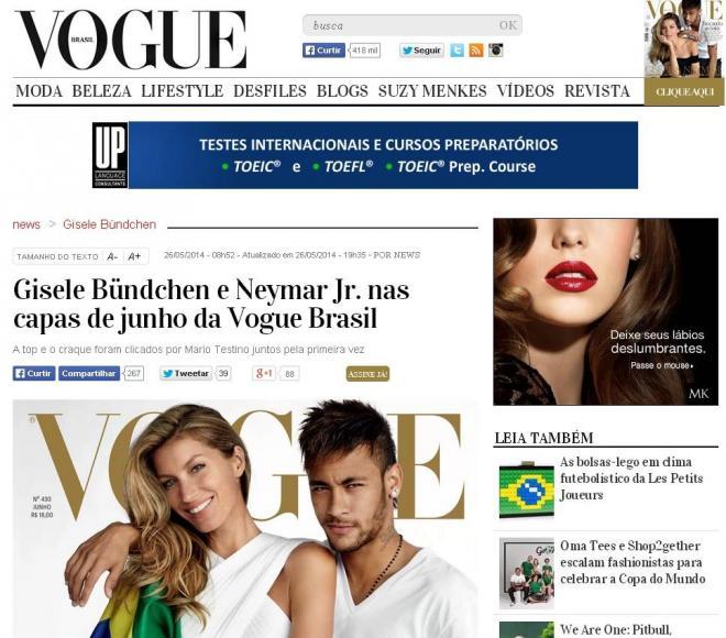「ヴォーグ・ブラジル」の表紙にも登場。スーパーモデルのジゼル・ブンチェンと