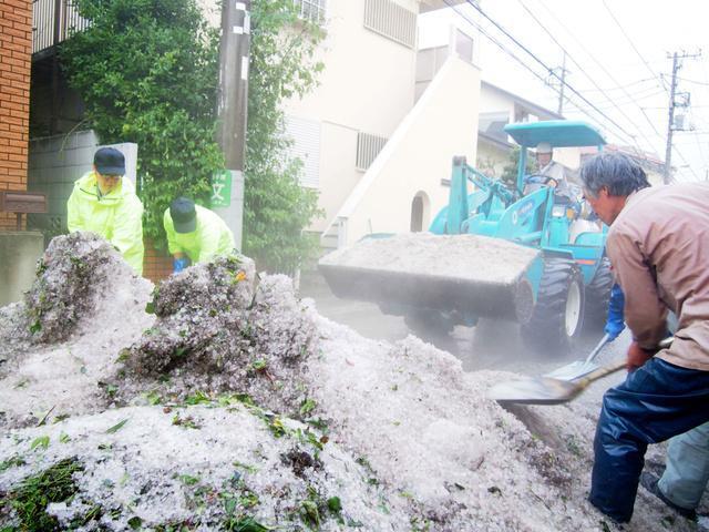 ひょうを取り除く作業をする市役所の職員ら=24日午後6時20分、東京都三鷹市中原1丁目、塩入彩撮影
