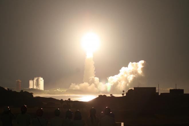 H2Bロケット初号機の打ち上げ=2009年9月11日、種子島宇宙センター