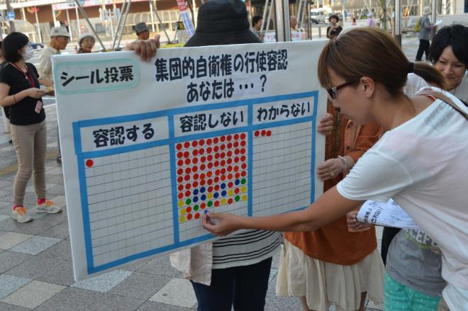 街中では「集団的自衛権の行使容認」の賛否を問うシール投票も。圧倒的多数が「容認しない」=2014年7月1日、静岡県のJR沼津駅南口前