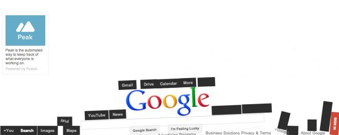 グーグルのページそのものではないが、「グーグル 重力」で表示される一覧の一番上をクリックすると、グーグルのホーム画面が崩壊して表示される