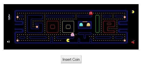 「Insert Coin」をクリックするとパックマンが遊べる(パソコンのみ)。操作はマウスか矢印キー