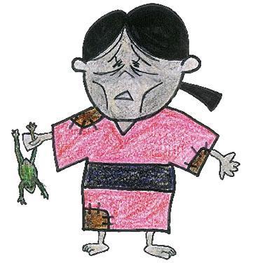 かつ江さん。確かに不気味…=鳥取市教委提供
