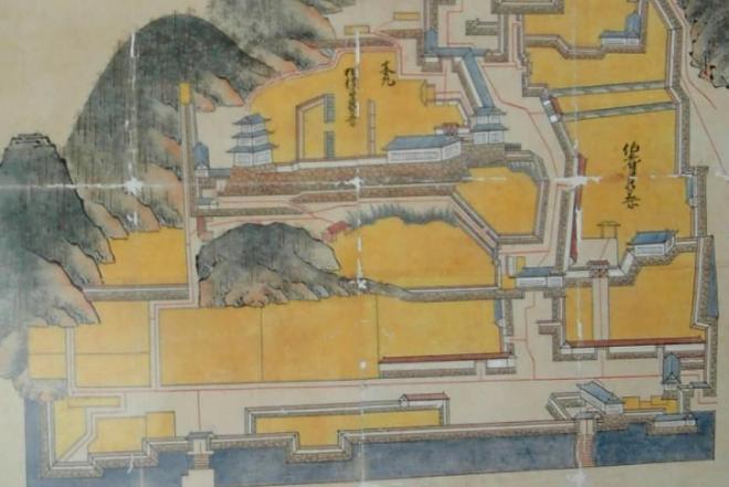 1683(天和3)年に鳥取城修復のため幕府に提出されたという絵図=2005年2月7日
