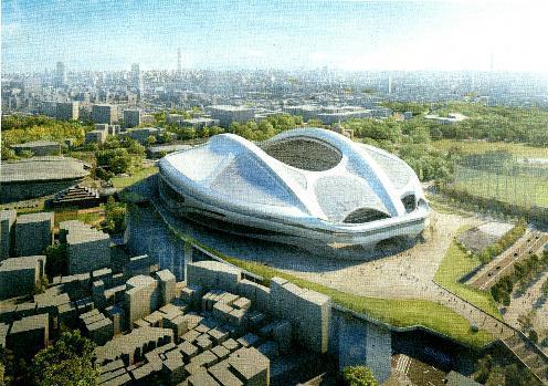 新国立競技場の完成予想図=日本スポーツ振興センター提供