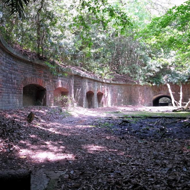 友ケ島第3砲台跡。地面に砲座跡が弧を描いている=2013年5月25日