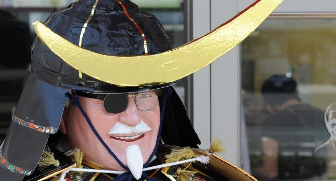 伊達政宗に変身したカーネル・サンダース人形=2009年5月2日