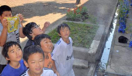 ミストシャワーを浴びる児童。「気持ちいい」=大田原市立大田原小学校
