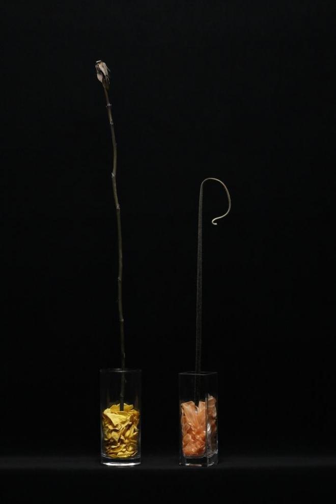 松田修 「身刻上【花】」 2014 プリザーブドフラワー、花瓶 Photo: Kenji Morita