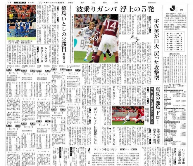 朝日新聞(大阪本社版)2014年7月28日付スポーツ面