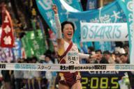 全日本大学女子駅伝で初優勝した名城大のアンカー佐藤麻衣子選手2005年11月27日