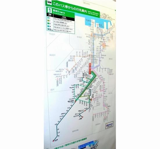 福岡市内外に張り巡らされた、西鉄バスの路線図=2006年4月26日