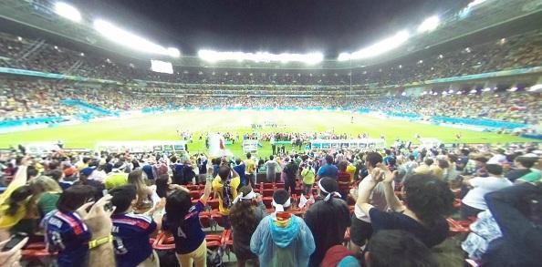 ブラジルW杯。6月14日の日本対コートジボワール戦の会場の雰囲気も味わえます