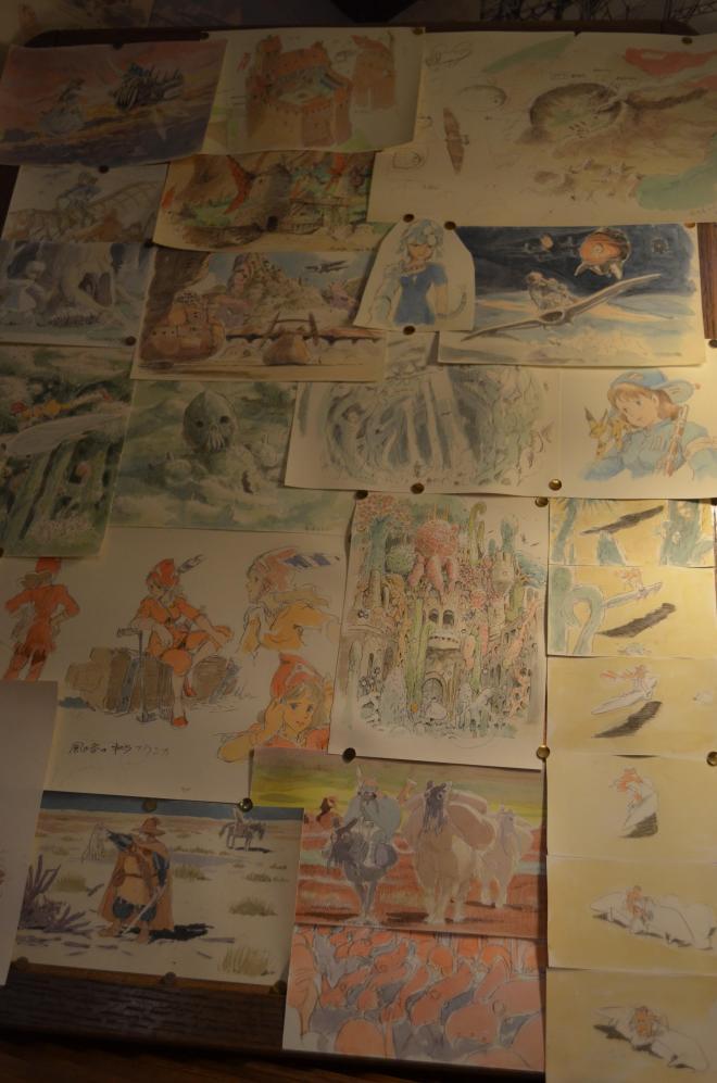 「風の谷のナウシカ」の絵も。キャラクターが決まるまでにはさまざまなタイプの絵を描くそうだ