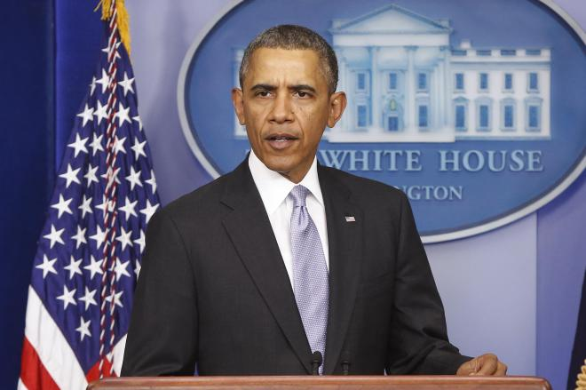 ホワイトハウスで会見するオバマ米大統領。2014年2月