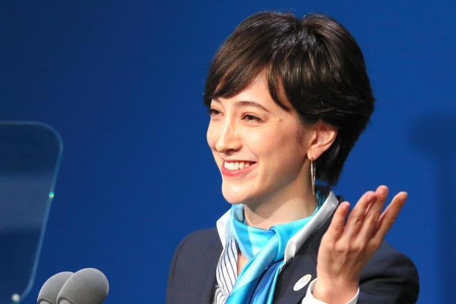 9月、国際オリンピック委員会(IOC)総会で、プレゼンテーションをする滝川クリステルさん=2013年9月7日、ブエノスアイレス
