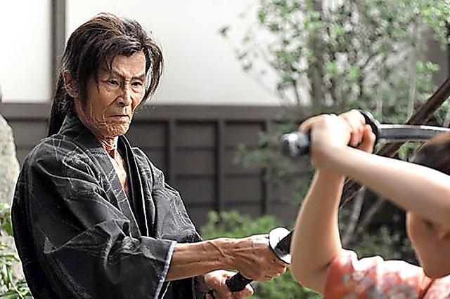 「太秦ライムライト」を撮影中の福本清三さん