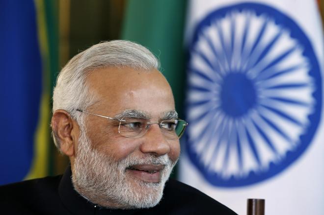 ブラジル滞在中の、インドのモディ首相=2014年7月16日