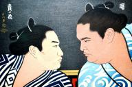 曙と貴ノ花の錦絵=2014年8月7日、稲敷市立歴史民俗資料館
