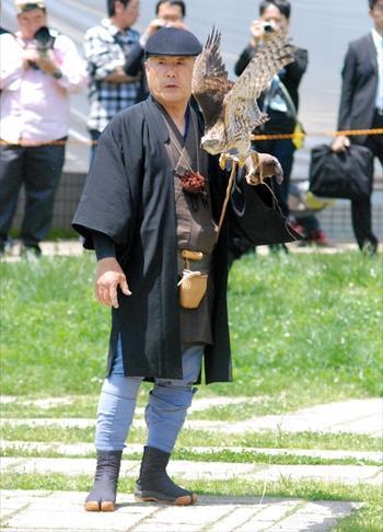 鷹狩りの訓練の実演をする諏訪流17代鷹師・田籠善次郎さん=2012年5月13日