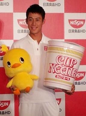 日清食品HDと所属契約した時の錦織。藤島真人撮影、2012年4月4日