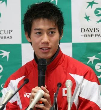 プロテニス男子国別対抗戦デ杯で、抱負を語る錦織。杉山圭子撮影、2009年3月4日