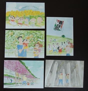 春日部市の名物・名所を描いた5種類の絵はがき