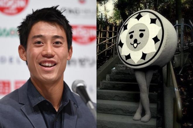 左は錦織圭選手(朝日新聞デジタルより)。右はにしこくん(にしこくんのホームページより) (C)nishikokun