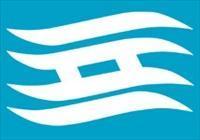 兵庫県の県旗。波の形に「兵」の字を白く抜いたデザイン