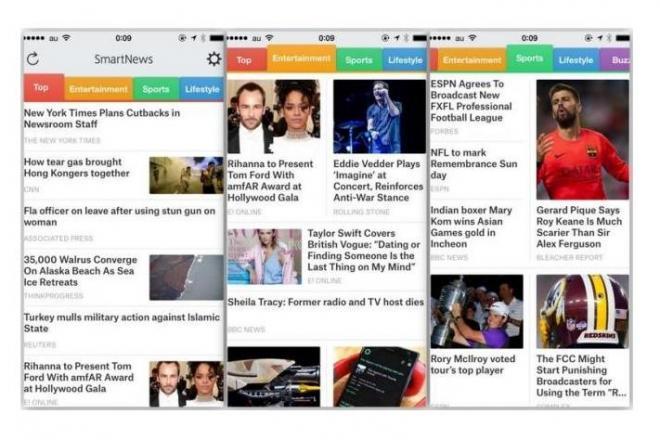 スマートニュース米国版アプリ。左からトップ、エンターテイメント、スポーツの画面