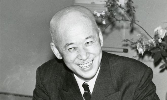 古関があこがれた作曲家の山田耕筰 =1954年