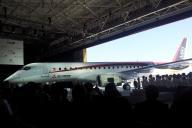 国産旅客機として約半世紀ぶりに製造されるMRJ。飛行試験用の機体が初公開された=18日午後2時過ぎ、愛知県豊山町、大平要撮影