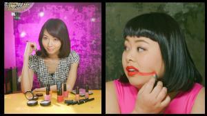 茨城県が制作したPR動画。納豆の話題で動揺し、口紅をほおに引いてしまう渡辺直美さん