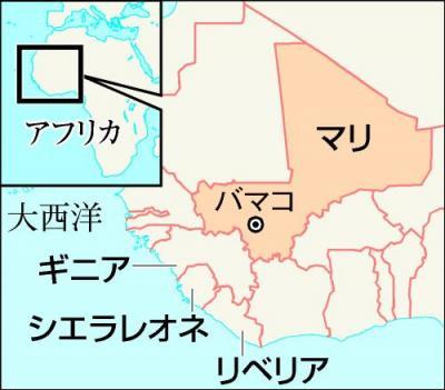 西アフリカの地図