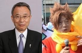豊島区の高野之夫区長は、普段の姿(左)とコスプレモード(右)を使い分けられます=特別区長会の写真を加工