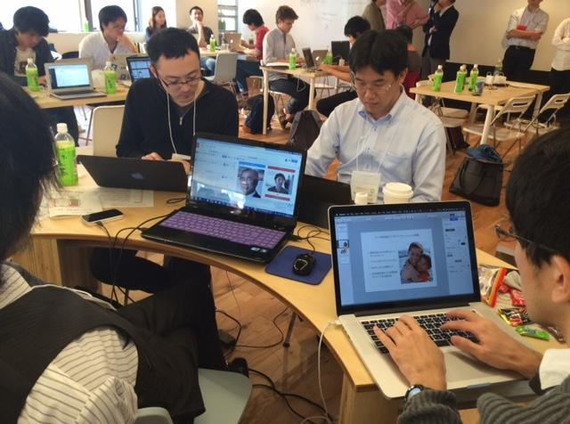ハッカソンイベントでの開発風景=東京都渋谷区の朝日新聞メディアラボ