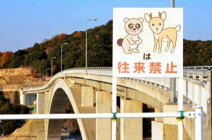 鹿久居島と頭島に架かる頭島大橋に立つ野生動物に「往来禁止」を呼びかける看板。トマソン看板と呼ばれています=2011年12月14日
