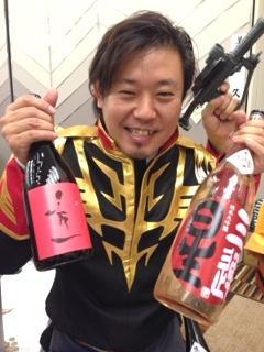 滋賀県内での地酒イベントで、ジオン公国軍の制服に身を包み「秀一」をPR