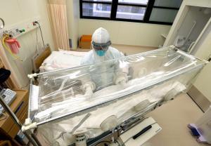 エボラ出血熱の患者は防護服を着た医師や看護師によって専用のストレッチャーで病室に搬送される=東京都墨田区の都立墨東病院、上田潤撮影