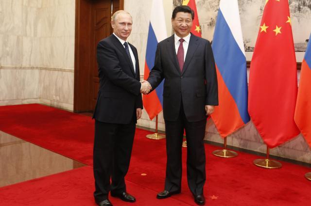 習近平国家主席と握手するロシアのプーチン大統領=2014年11月9日