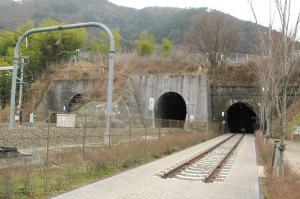 右が遊歩道になっている大日影トンネル=2010年3月15日