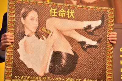 長澤さんのCMメイキング写真800枚でできたモザイクアートによる、長澤まさみさんへのPRアンバサダー任命状