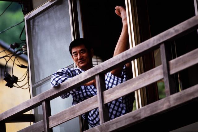 1994年夏、長野県の雲泉寺温泉でくつろ健さん